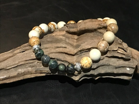 Raging Bull Stone Bracelet - Green and Picture Jasper