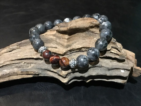 Raging Bull Stone Bracelet - Red Tiger's Eye and Labradorite
