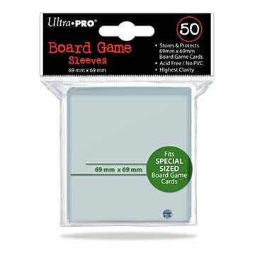 Ultra Pro Board Game Sleeves - 69mm X 69mm Square Card Size 50ct