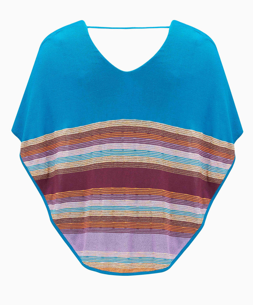 RUTH EROTOKRITOU BLUE STRIPE CAPE TOP