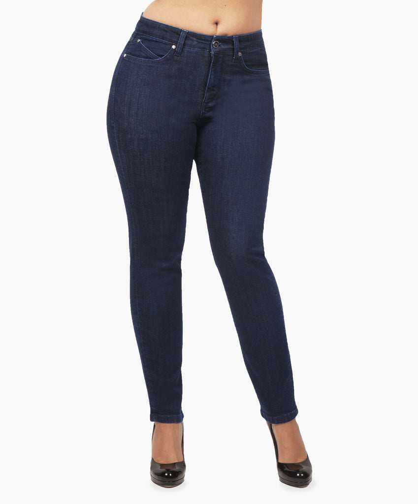 Blue ankle cut jeans with secret sculpt system.