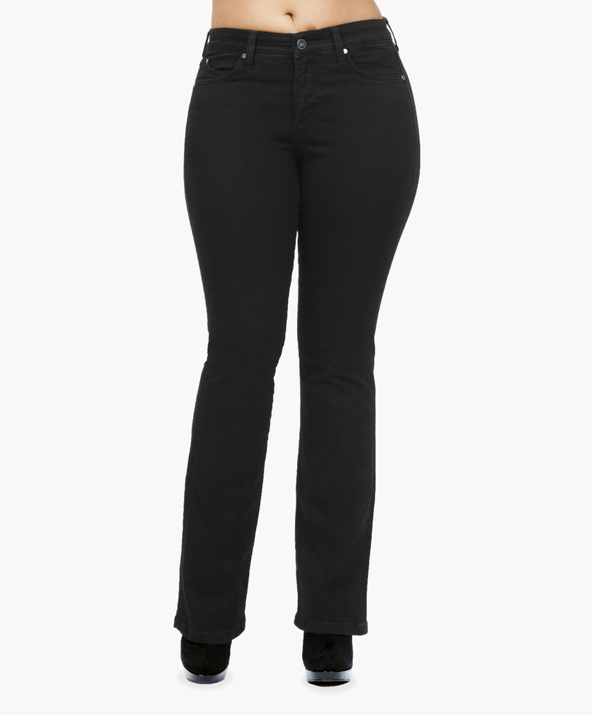 Black boot cut jeans with secret sculpt system.