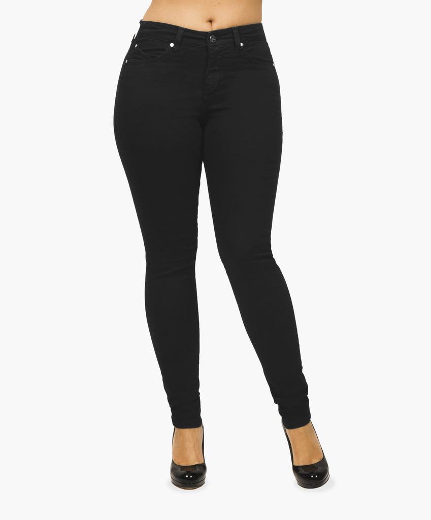 Black skinny jeans with secret sculpt system.