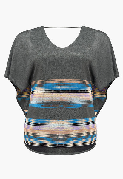 RUTH EROTOKRITOU GREY STRIPE CAPE TOP