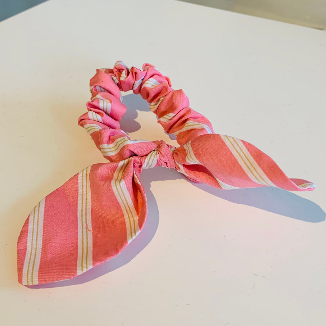 Pink Striped Scrunchies