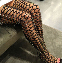 Thigh High Studded Open Boots