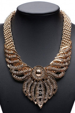 Gold Intricate Diamond Maxi Necklace