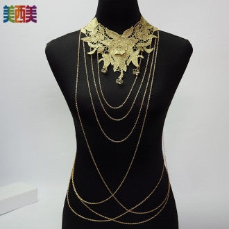 Flower Embroidered Body Chain Necklace