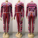 Pink Multi Jacket Pants Set