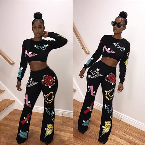 Black Printed Two Piece Pants Set