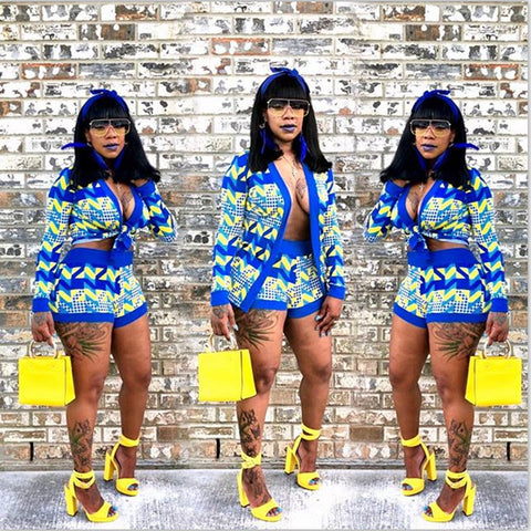 Blue and Yellow Zigzag Set (Plus Size Available)