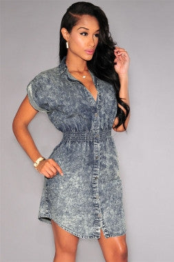 Short Sleeve Denim Shirt Dress