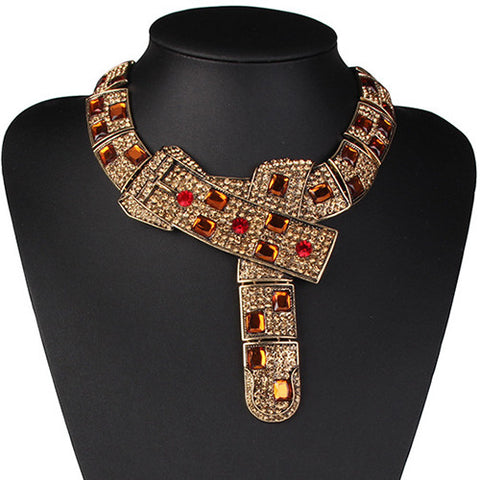 Rhinestone Belt-Shaped Necklace