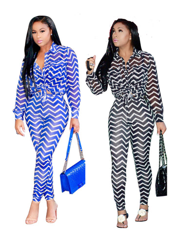 Chevron Pattern Pants Set