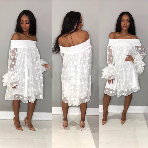 White off the Shoulder Cute Dress