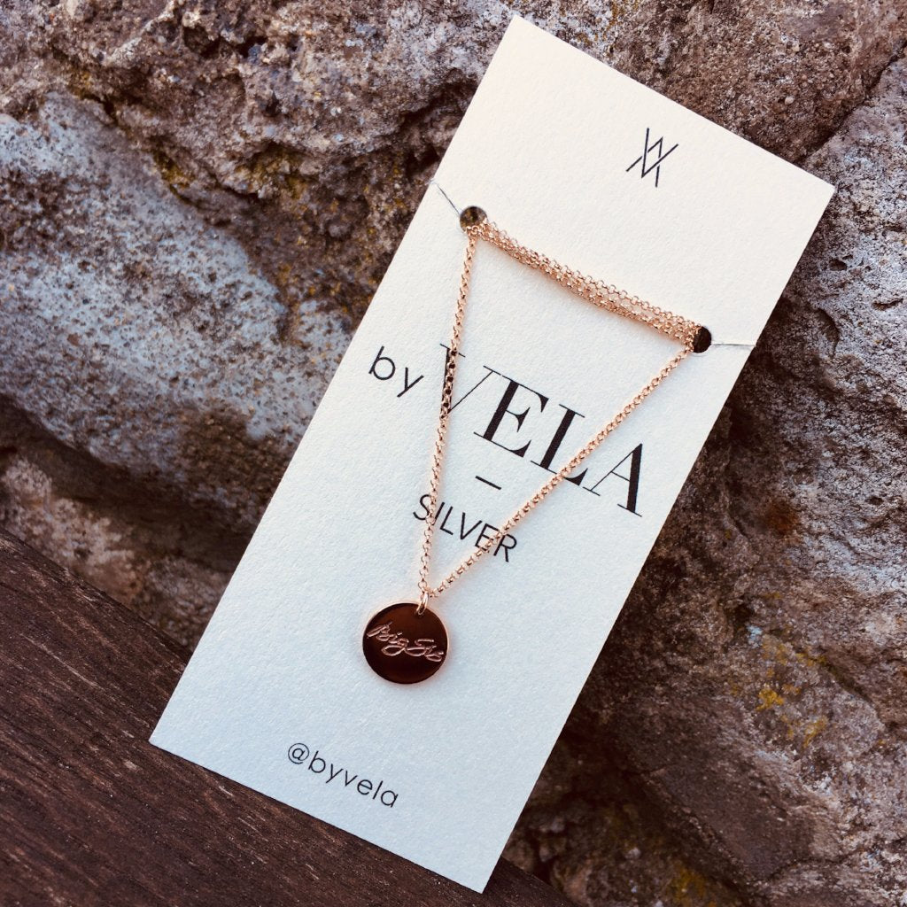 ENGRAVED COIN necklace - BYVELA designer jewellery in silver and gold