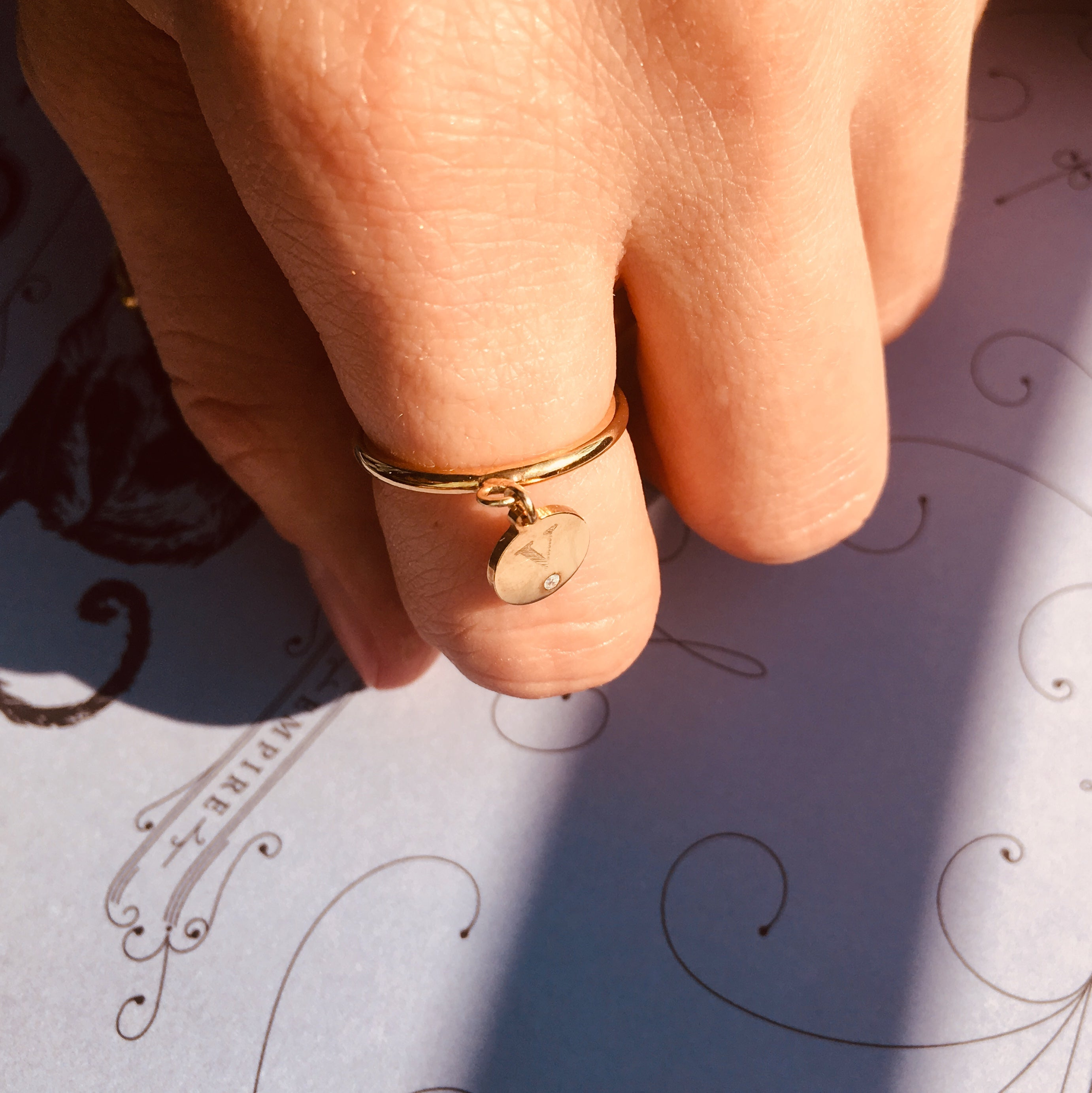 COIN INITIAL ring - BYVELA designer jewellery in silver and gold