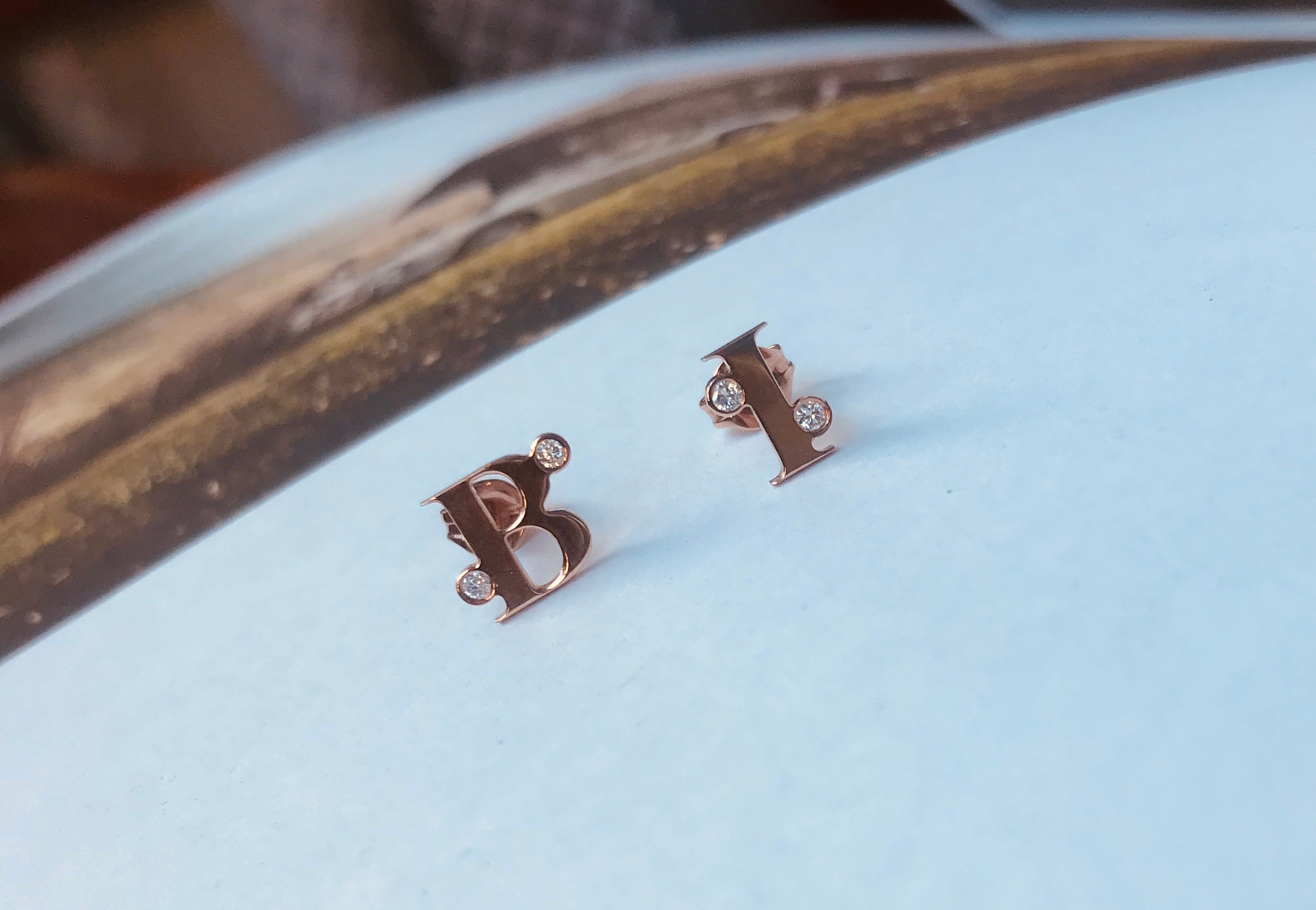 MY INITIALS earrings - BYVELA designer jewellery in silver and gold