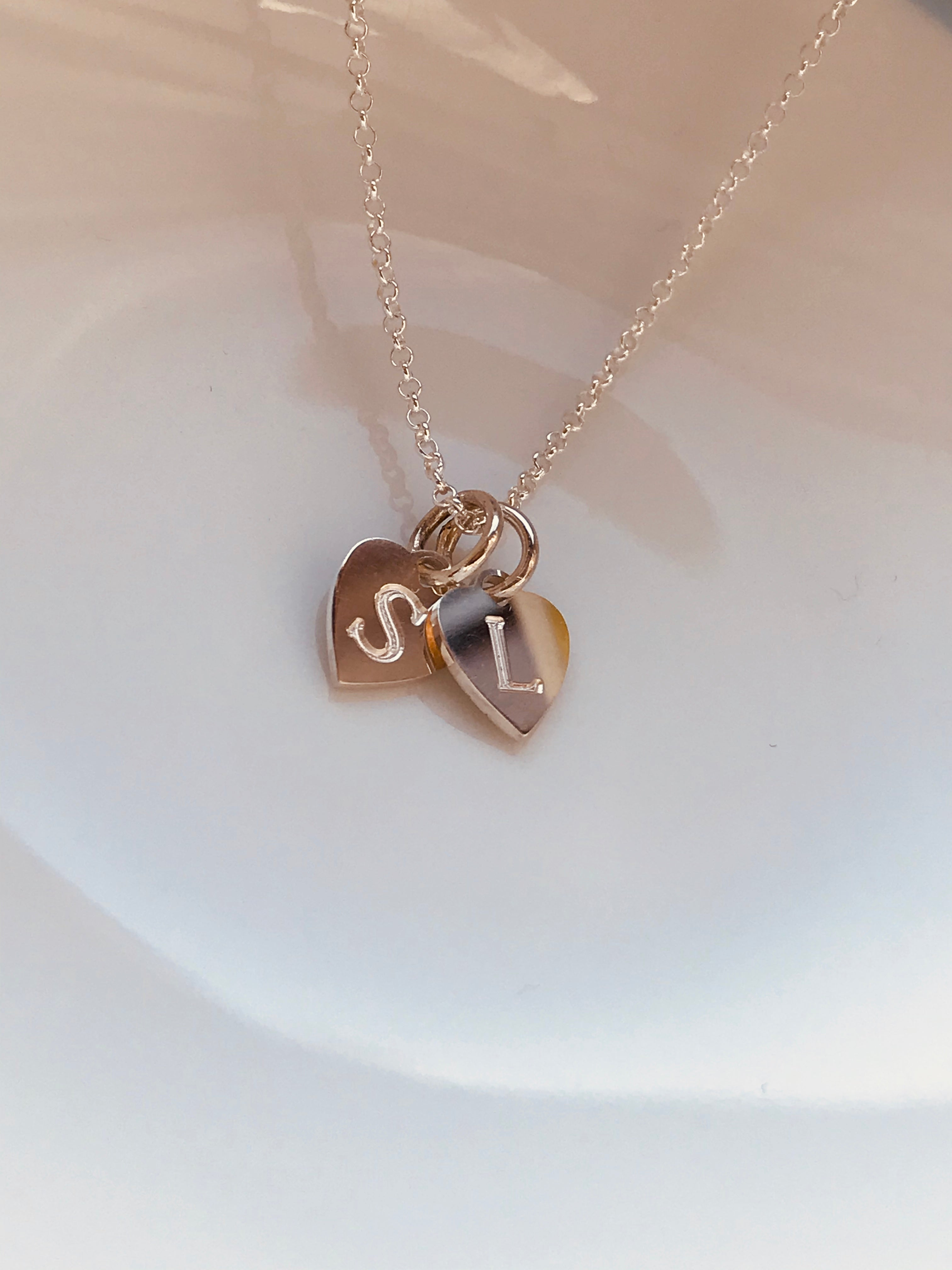 STACKED HEARTS necklace - BYVELA designer jewellery in silver and gold