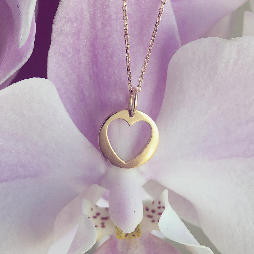CUTOUT HEART necklace - BYVELA designer jewellery in silver and gold