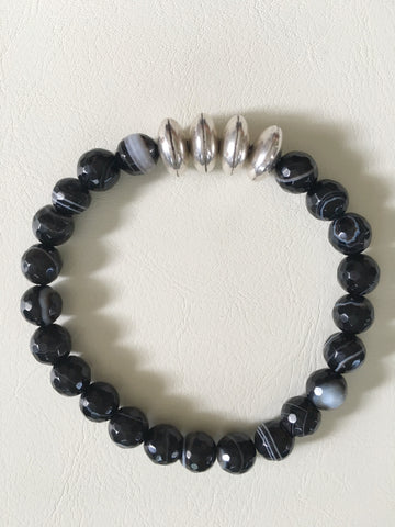 Men's Black Sardonyx Stretch Bracelet