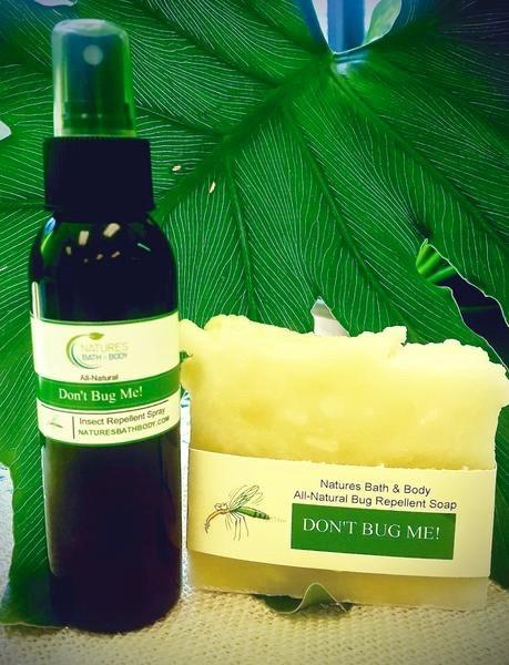 CDC confirms lemon eucalyptus oil as effective as DEET! Try our All-Natural Don't Bug Me! Insect Repellent Spray!