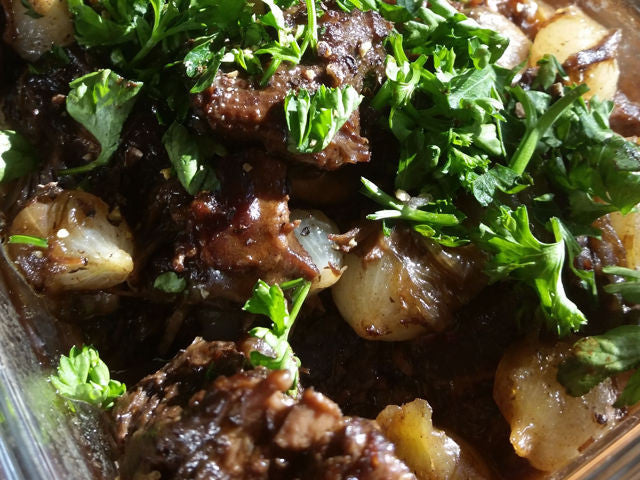 Beef Burgundy with Pearl Couscous and Mixed Green Salad