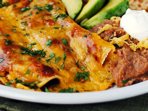 Black Bean and Kale Enchiladas with Ranchero Sauce and a Side Salad