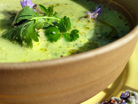 Asparagus Fennel & Spinach Soup with toppers!