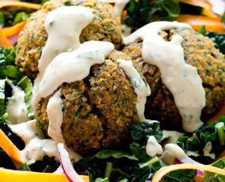 Baked Red Lentil Falafels  with a side of Tangy Tahini Dressing