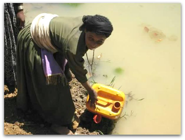 A Woman collecting water in Ethiopia