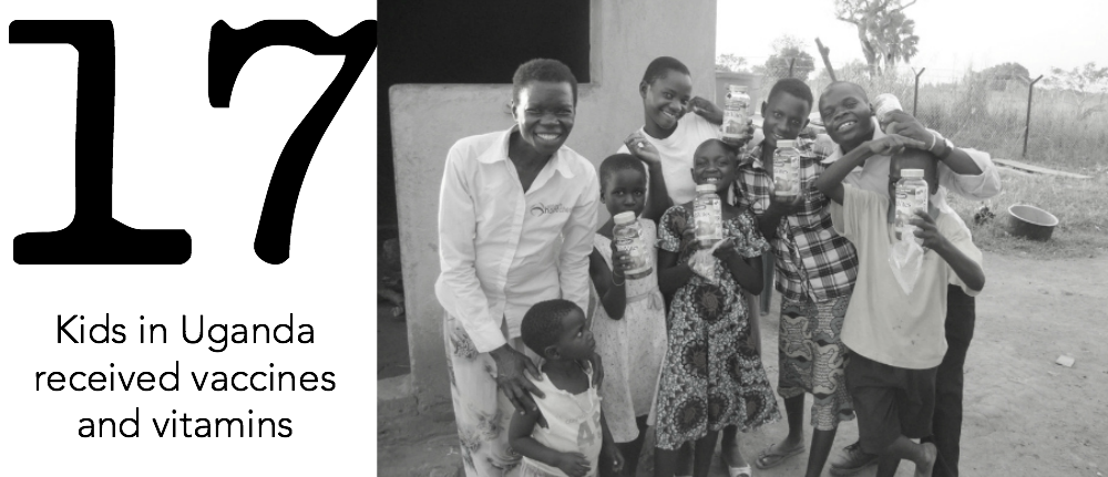 17 kids in Uganda received vaccines and vitamins, thanks to purchases from Society B customers.