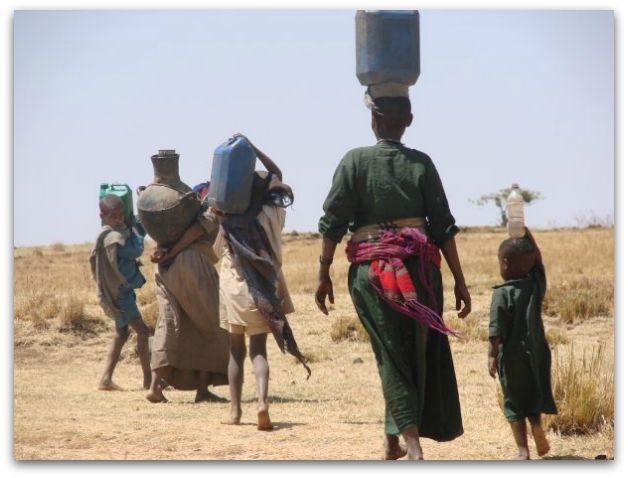 Women walking for water in Ethiopia