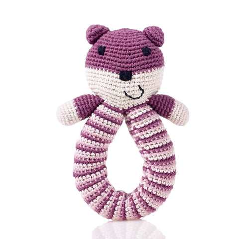 Organic Bear Rattle // Purple // Pebble // Society B - Fair Trade Products and Gifts that Give Back