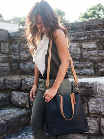 Abera Crossbody Tote // Black & Cognac // FashionABLE // Society B - Fair Trade Products and Gifts that Give Back - 3