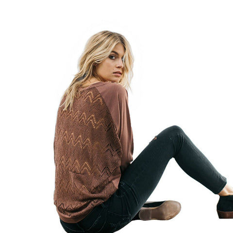 Knit Lace Long Sleeve // Nutmeg