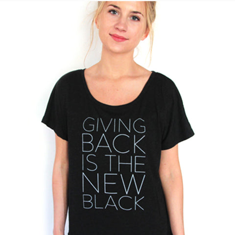 Giving Back Dolman T-Shirt // Vintage Black // HALF UNITED // Society B - Fair Trade Products and Gifts that Give Back
