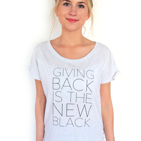 Giving Back Dolman T-Shirt // Heather White // HALF UNITED // Society B - Fair Trade Products and Gifts that Give Back