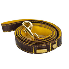 Dog Leash in Soft Antique Brown Leather with Wool felt - lurril