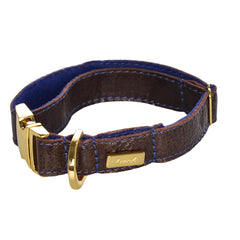 Dog Collar in Soft Antique Brown Leather with Wool felt - lurril