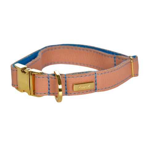Dog Collar in Soft Salmon Leather with Wool felt - lurril