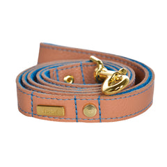 Dog Leash in Soft Salmon Leather with Wool felt - lurril
