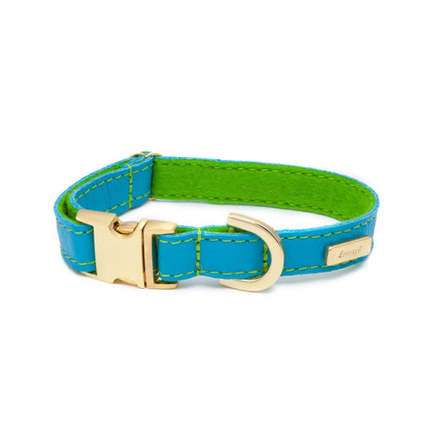 Dog Collar in Soft Turquoise Leather with Wool felt - lurril