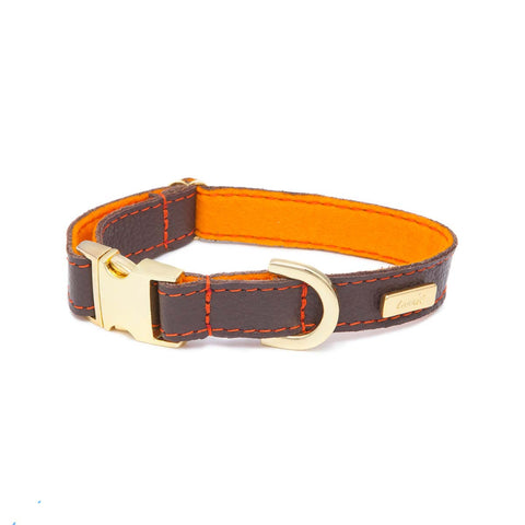 Dog Collar in Soft Chocolate Brown Leather with Wool felt - lurril