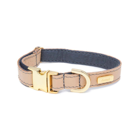 Dog Collar in Soft Champagne Leather with Wool felt - lurril