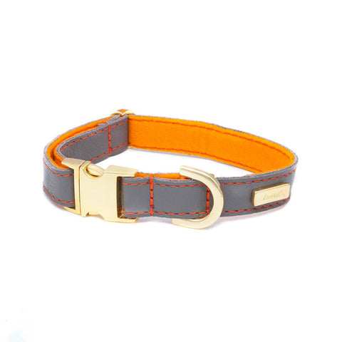 Dog Collar in Soft Zinc Leather with Wool felt - lurril