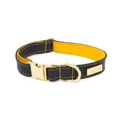 Dog Collar in Soft Black Leather with Wool felt - lurril