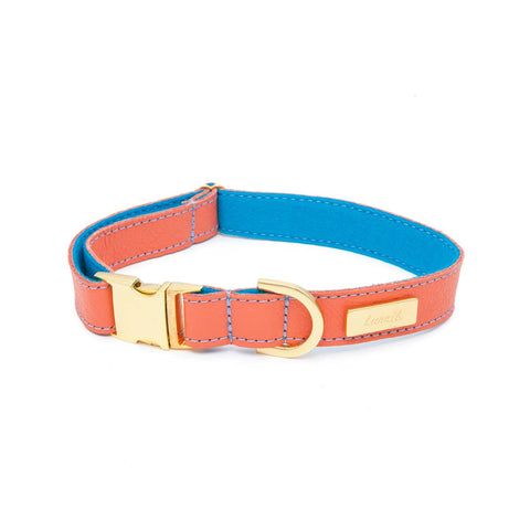 Dog Collar in Soft Mandarin Leather with Wool felt - lurril