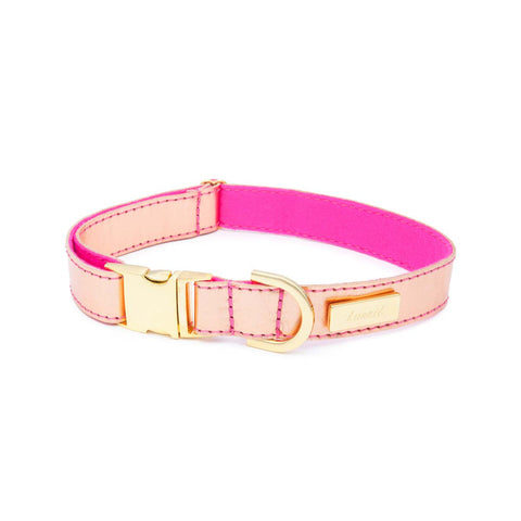 Dog Collar in Soft Rose Gold Leather with Wool felt - lurril