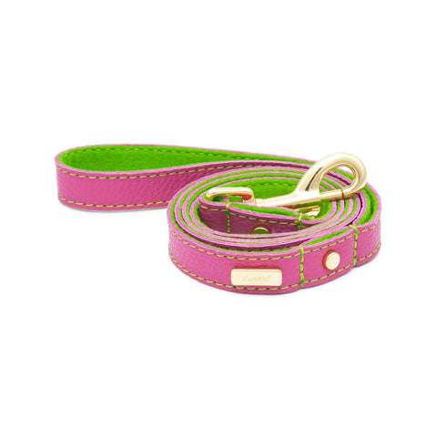 Dog Leash in Soft Pink Leather with Wool felt - lurril